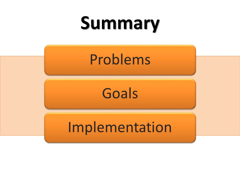 Summary Problems Goals Implementation
