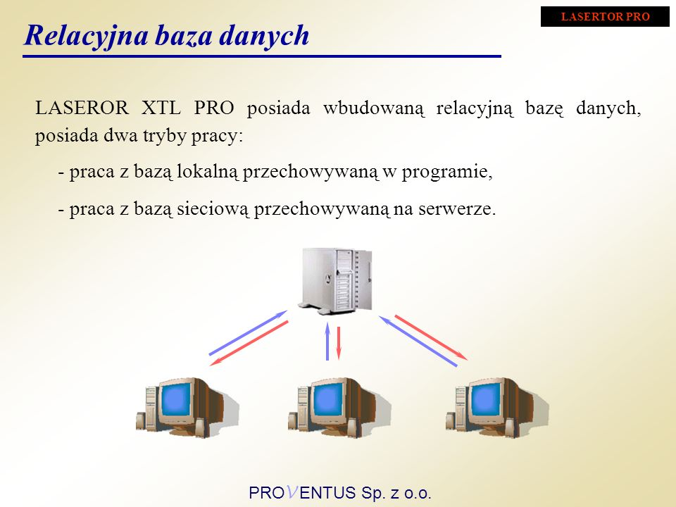 LASERTOR PRO Relacyjna baza danych. LASEROR XTL PRO posiada wbudowaną relacyjną bazę danych, posiada dwa tryby pracy: