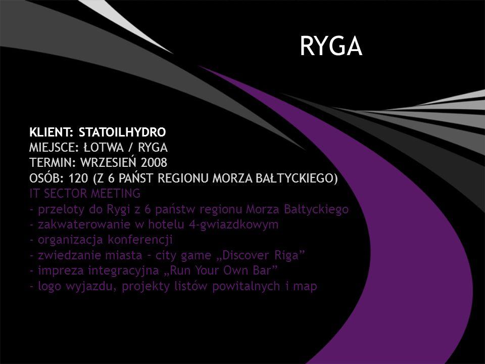 RYGA Klient: STATOILHYDRO Miejsce: ŁOTWA / RYGA TERMIN: wrzesień 2008