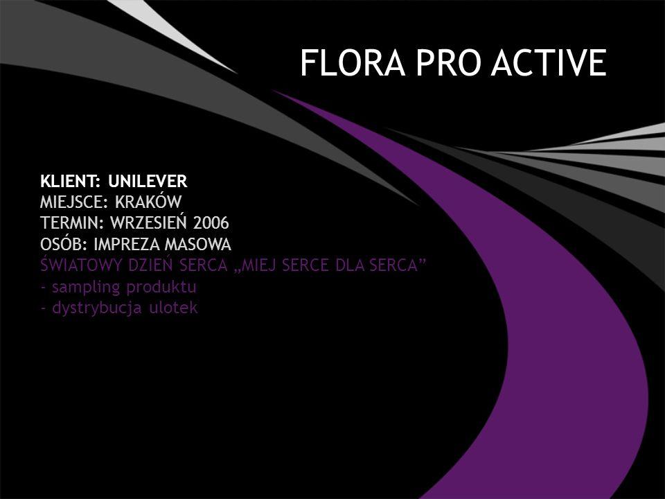 FLORA PRO ACTIVE Klient: UNILEVER Miejsce: Kraków