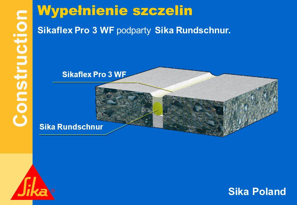Wypełnienie szczelin Sikaflex Pro 3 WF podparty Sika Rundschnur.