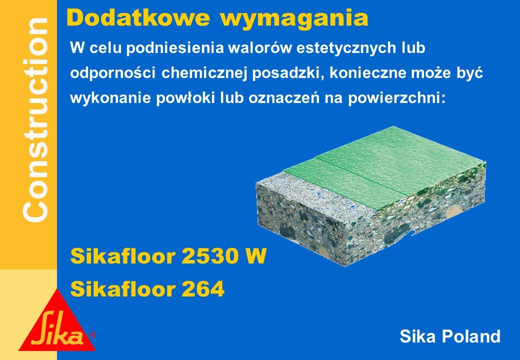 Dodatkowe wymagania Sikafloor 2530 W Sikafloor 264