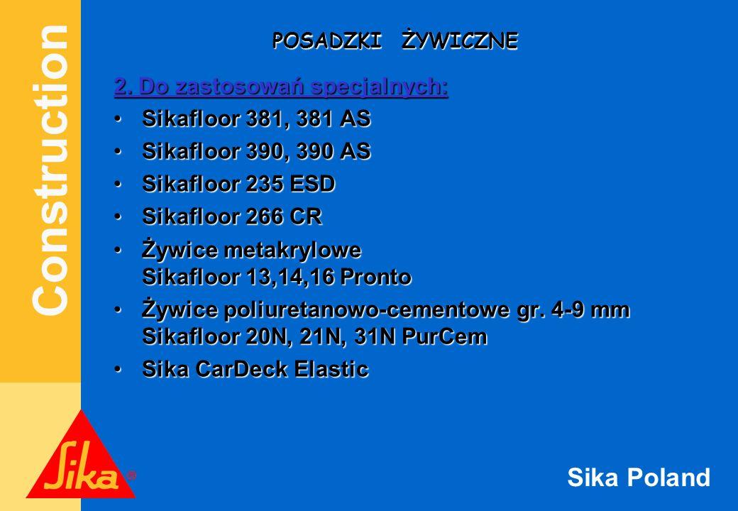 2. Do zastosowań specjalnych: Sikafloor 381, 381 AS