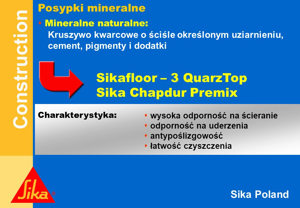 Sikafloor – 3 QuarzTop Sika Chapdur Premix Posypki mineralne