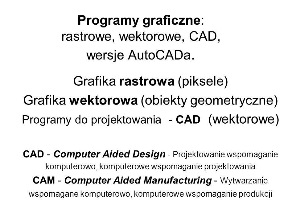 Programy graficzne: rastrowe, wektorowe, CAD, wersje AutoCADa.