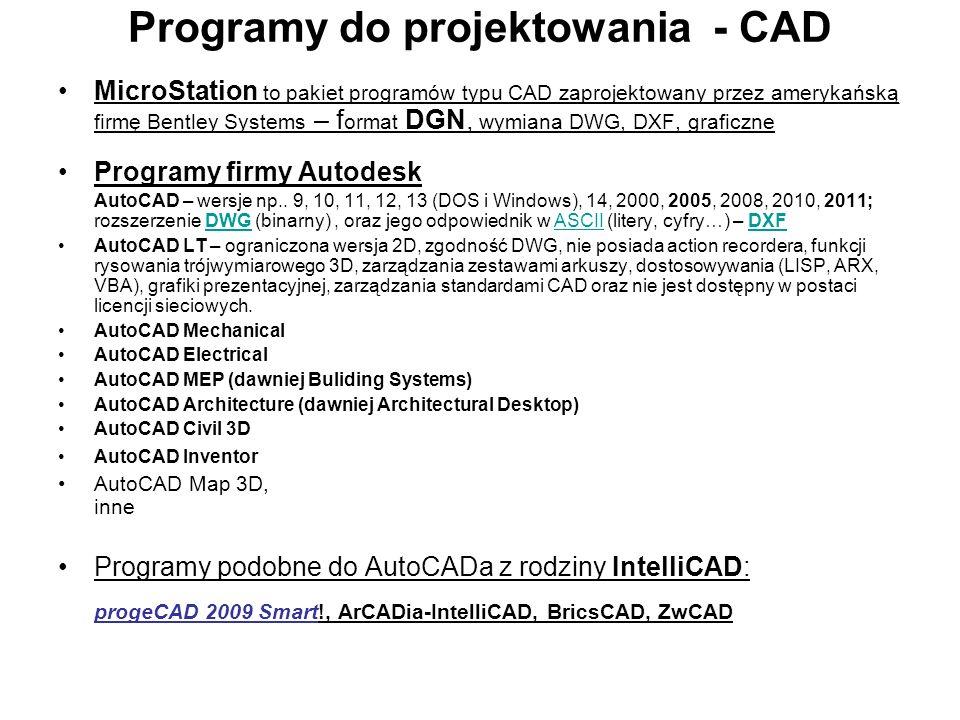 Programy do projektowania - CAD