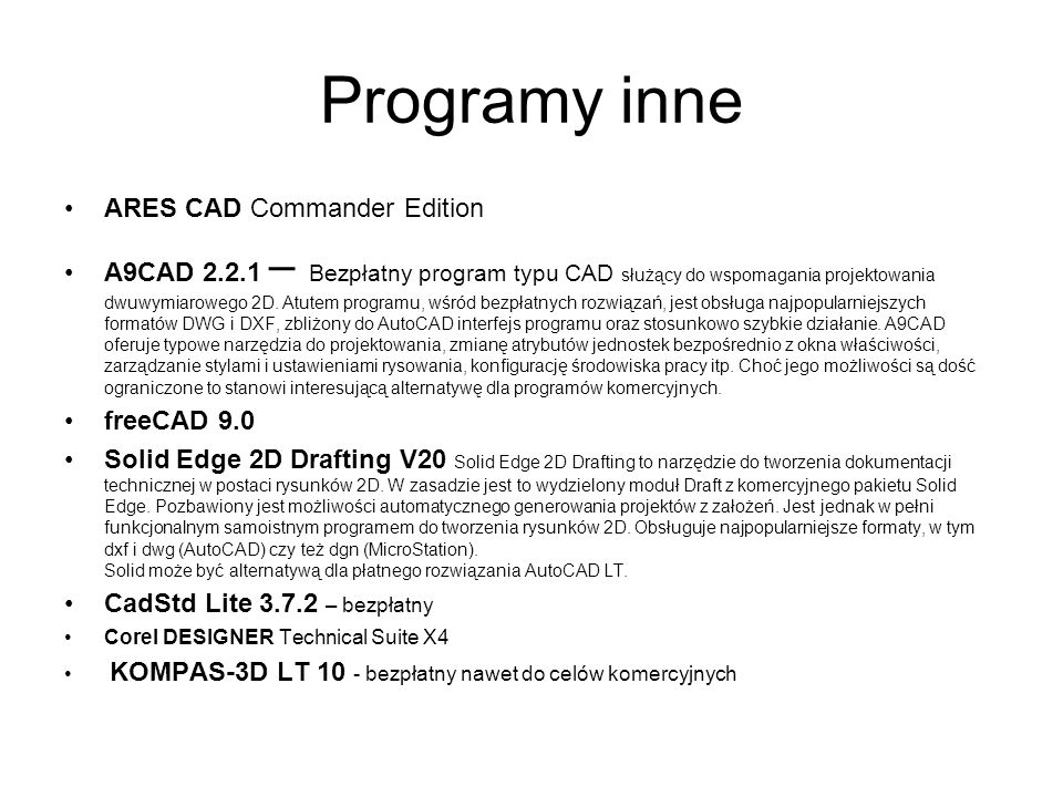 Programy inne ARES CAD Commander Edition