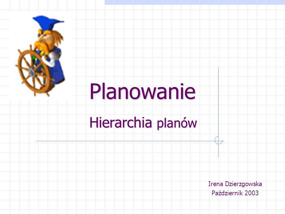 Planowanie Hierarchia planów Irena Dzierzgowska Październik 2003