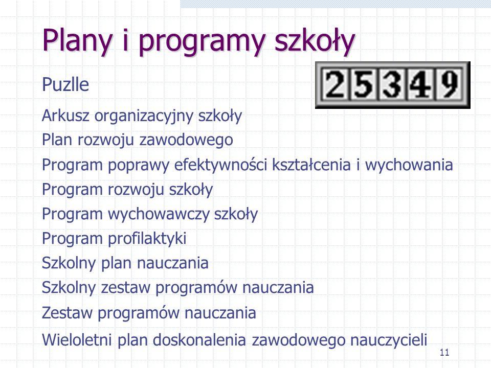 Plany i programy szkoły