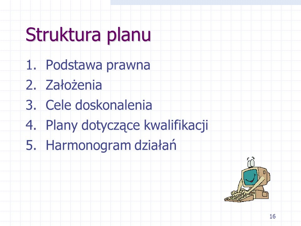 Struktura planu Podstawa prawna Założenia Cele doskonalenia