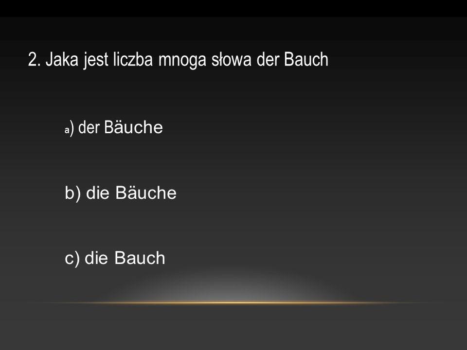 2. Jaka jest liczba mnoga słowa der Bauch