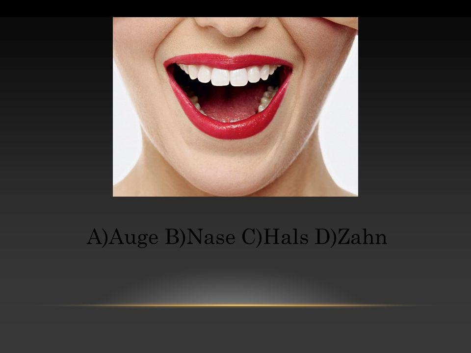A)Auge B)Nase C)Hals D)Zahn