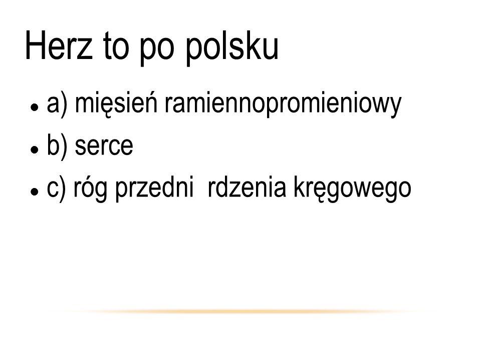 Herz to po polsku a) mięsień ramiennopromieniowy b) serce