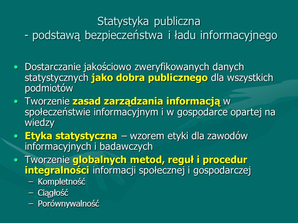 Statystyka publiczna - podstawą bezpieczeństwa i ładu informacyjnego