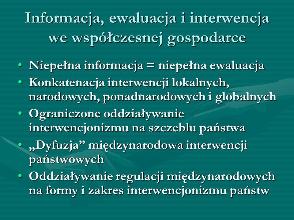 Informacja, ewaluacja i interwencja we współczesnej gospodarce