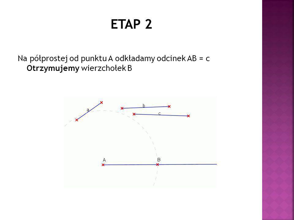 ETAP 2 Na półprostej od punktu A odkładamy odcinek AB = c Otrzymujemy wierzchołek B