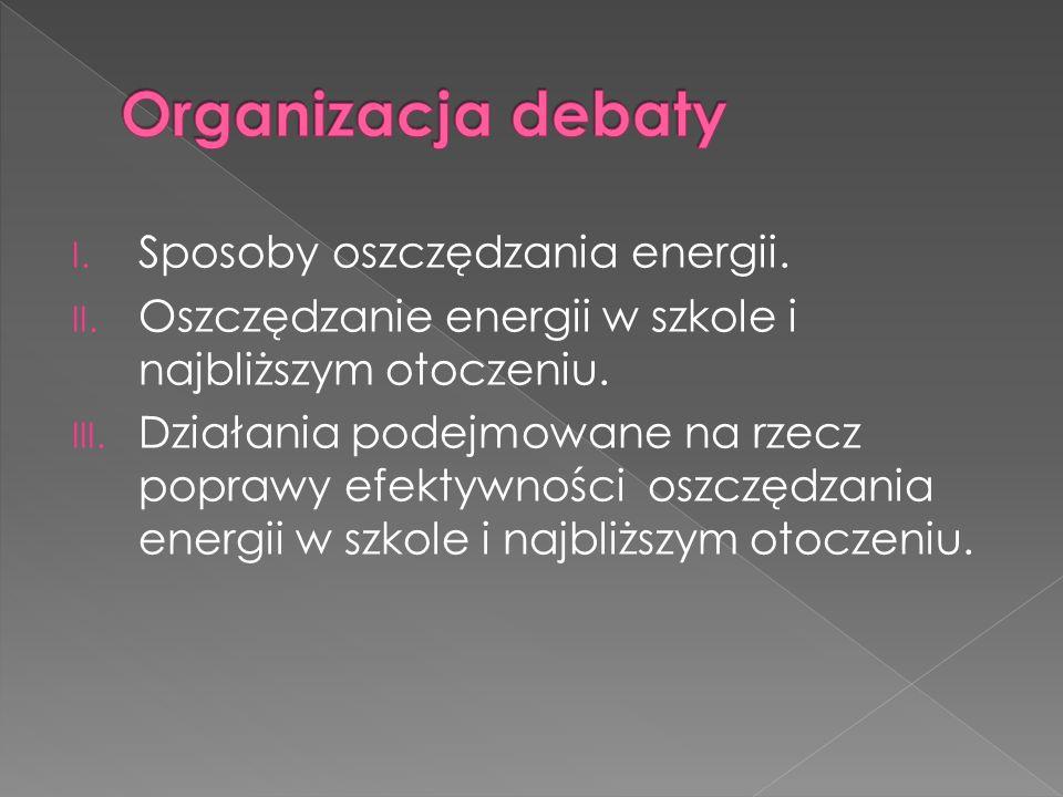 Organizacja debaty Sposoby oszczędzania energii.