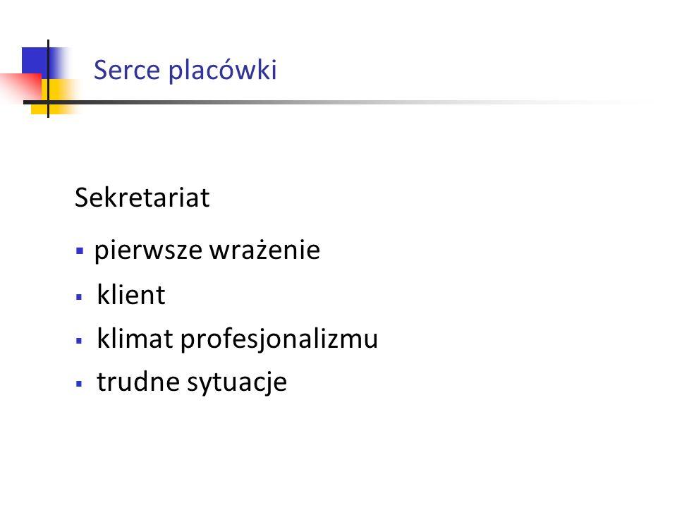pierwsze wrażenie Serce placówki Sekretariat klient