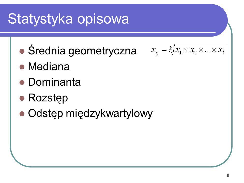 Statystyka opisowa Średnia geometryczna Mediana Dominanta Rozstęp