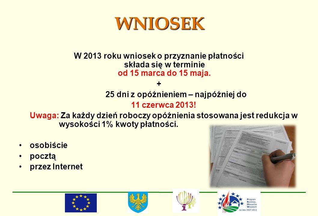 WNIOSEK W 2013 roku wniosek o przyznanie płatności składa się w terminie od 15 marca do 15 maja. +