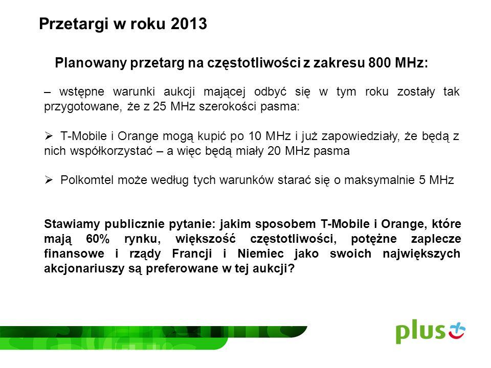 Przetargi w roku 2013 Planowany przetarg na częstotliwości z zakresu 800 MHz: