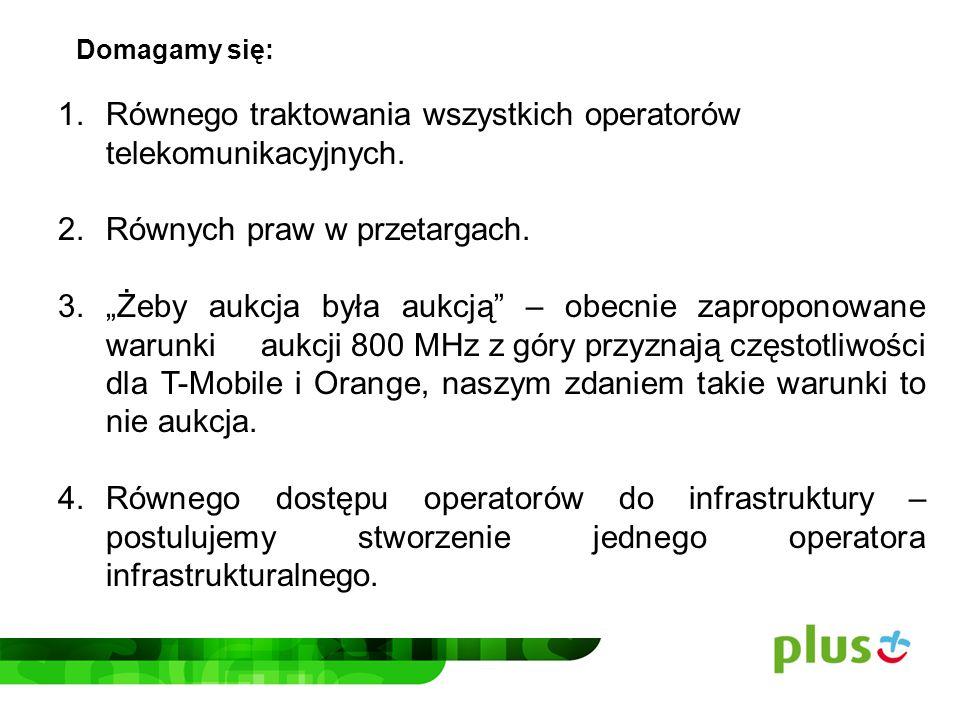 Równego traktowania wszystkich operatorów telekomunikacyjnych.