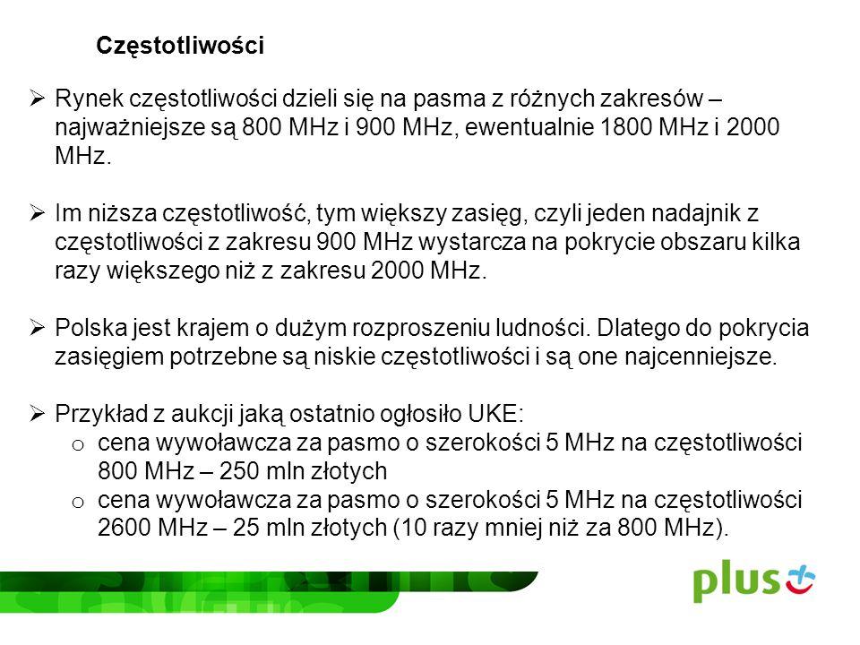 Częstotliwości Rynek częstotliwości dzieli się na pasma z różnych zakresów – najważniejsze są 800 MHz i 900 MHz, ewentualnie 1800 MHz i 2000 MHz.