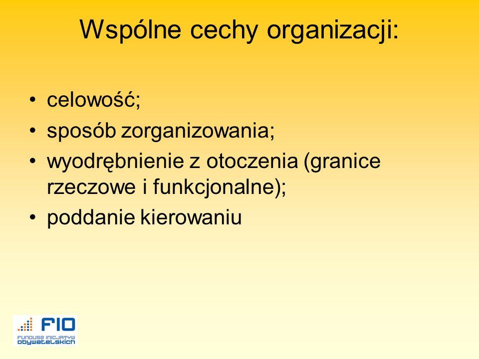 Wspólne cechy organizacji: