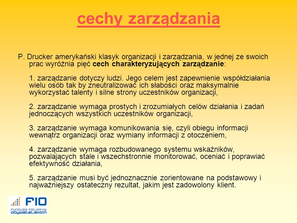 cechy zarządzania