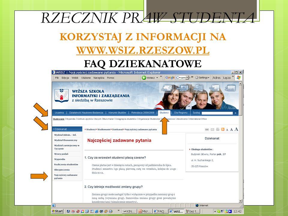 KORZYSTAJ Z INFORMACJI NA WWW.WSIZ.RZESZOW.PL