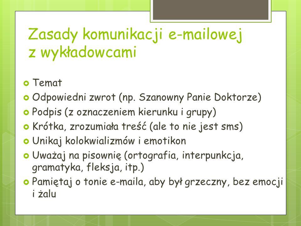 Zasady komunikacji e-mailowej z wykładowcami