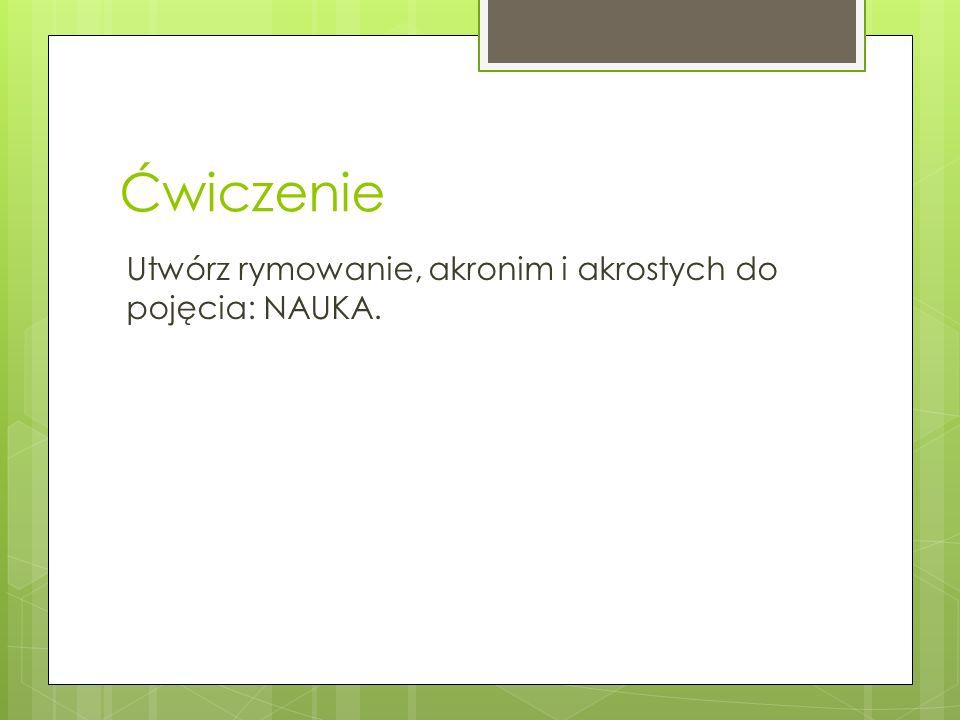 Ćwiczenie Utwórz rymowanie, akronim i akrostych do pojęcia: NAUKA.