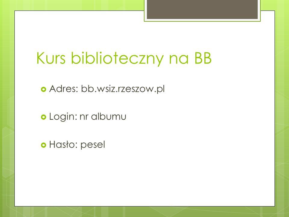 Kurs biblioteczny na BB