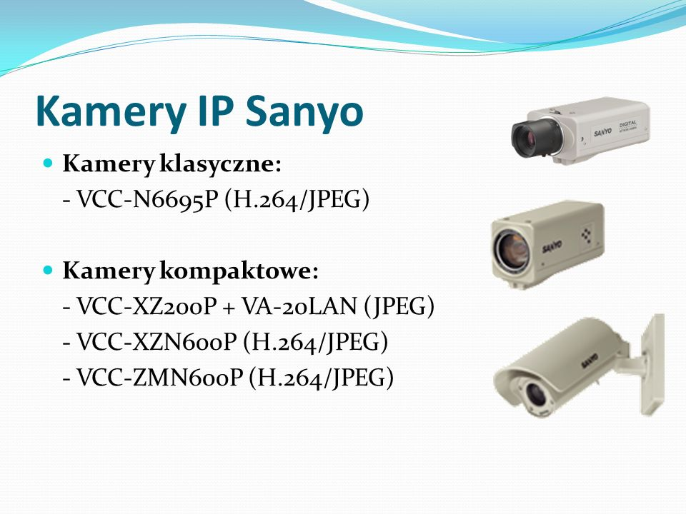 Kamery IP Sanyo Kamery klasyczne: - VCC-N6695P (H.264/JPEG)