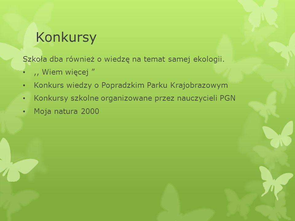 Konkursy Szkoła dba również o wiedzę na temat samej ekologii.