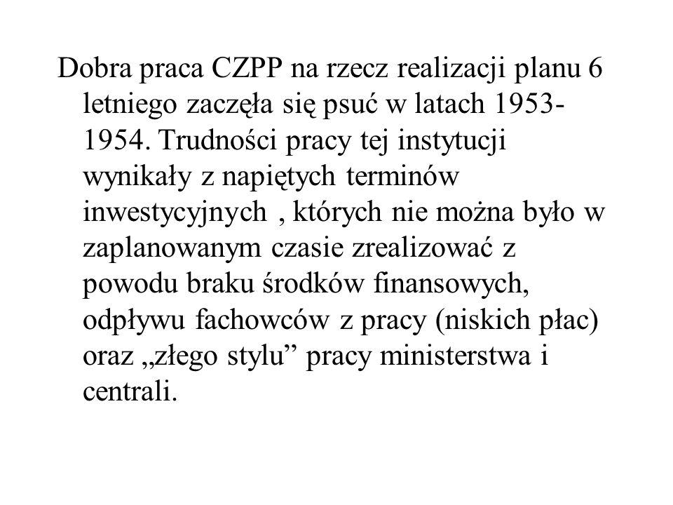 Dobra praca CZPP na rzecz realizacji planu 6 letniego zaczęła się psuć w latach 1953-1954.