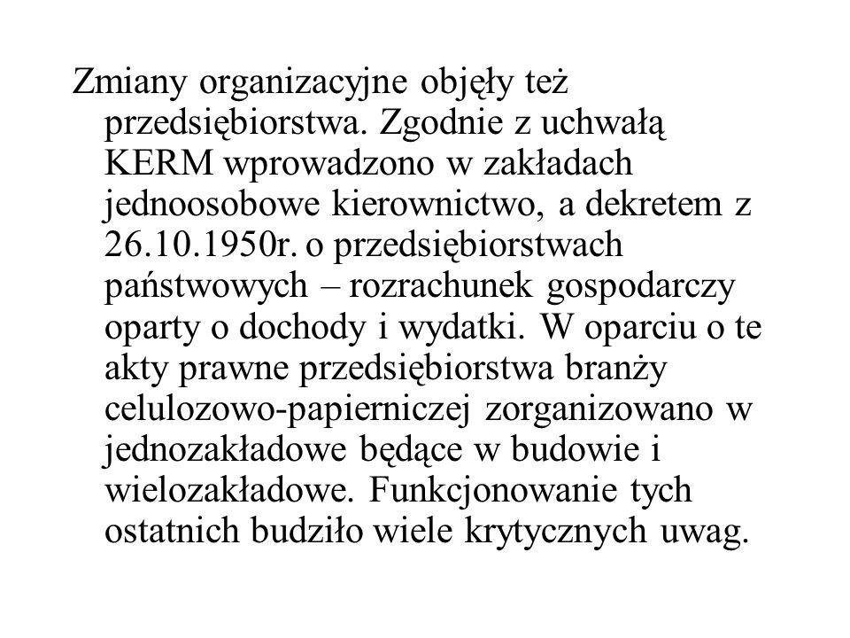 Zmiany organizacyjne objęły też przedsiębiorstwa