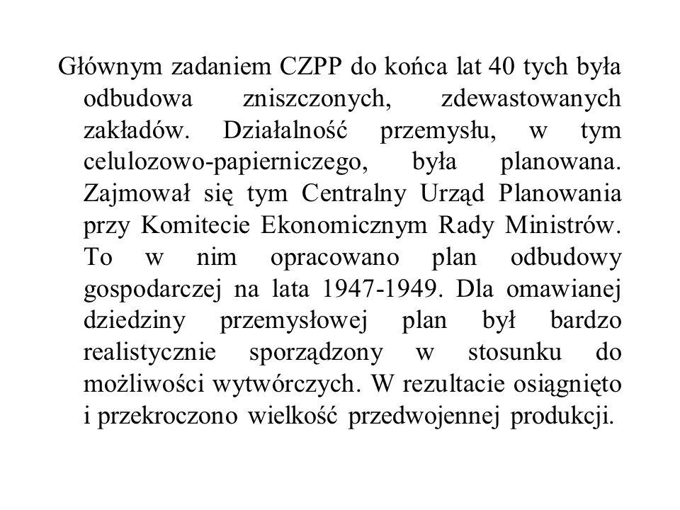 Głównym zadaniem CZPP do końca lat 40 tych była odbudowa zniszczonych, zdewastowanych zakładów.
