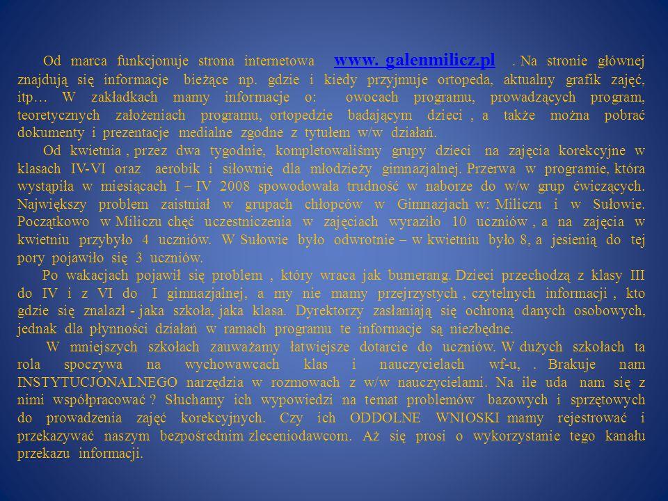 Od marca funkcjonuje strona internetowa www. galenmilicz. pl