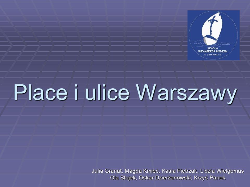 Place i ulice Warszawy Julia Granat, Magda Kmieć, Kasia Pietrzak, Lidzia Wielgomas Ola Stojek, Oskar Dzierżanowski, Krzyś Panek.