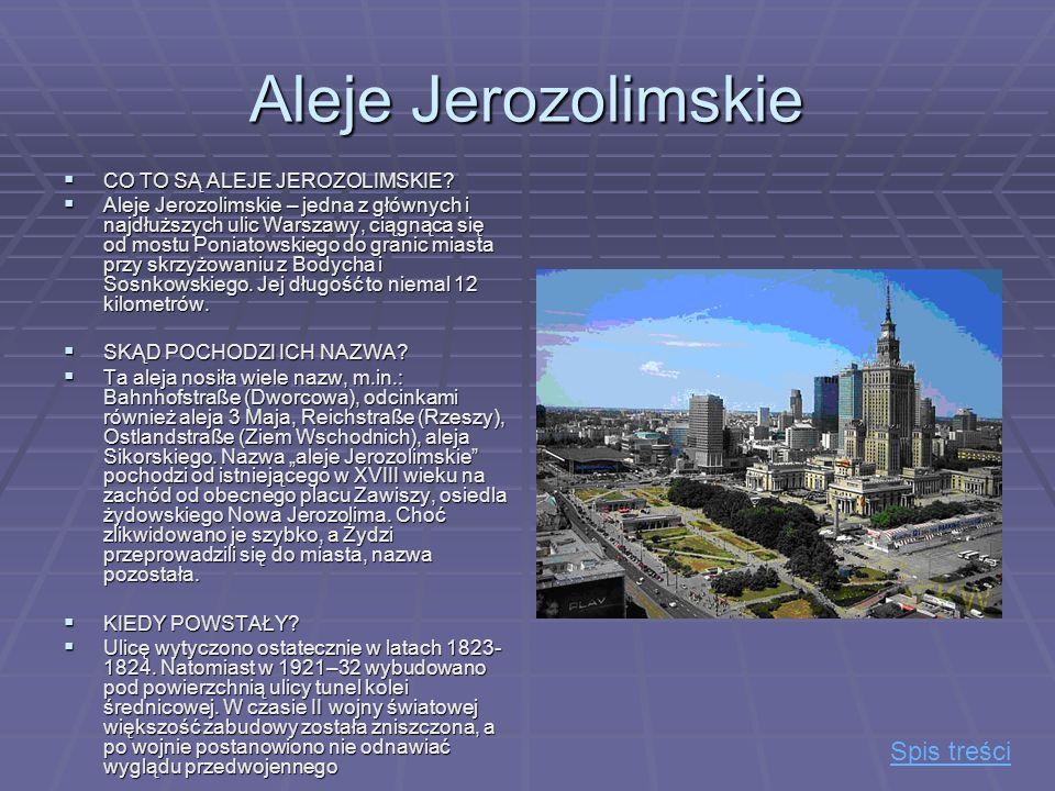 Aleje Jerozolimskie Spis treści CO TO SĄ ALEJE JEROZOLIMSKIE