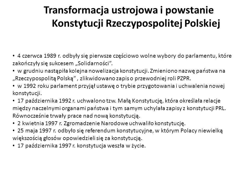 Transformacja ustrojowa i powstanie Konstytucji Rzeczypospolitej Polskiej