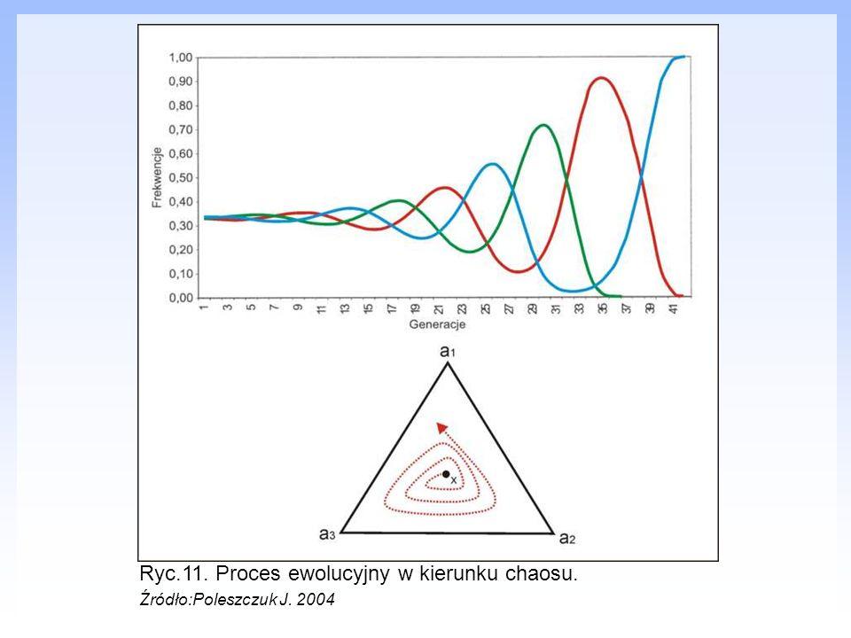 Ryc.11. Proces ewolucyjny w kierunku chaosu.