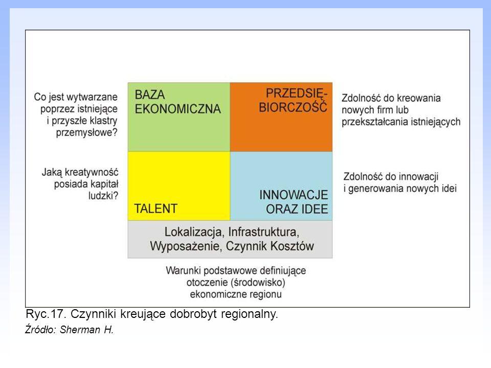 Ryc.17. Czynniki kreujące dobrobyt regionalny.