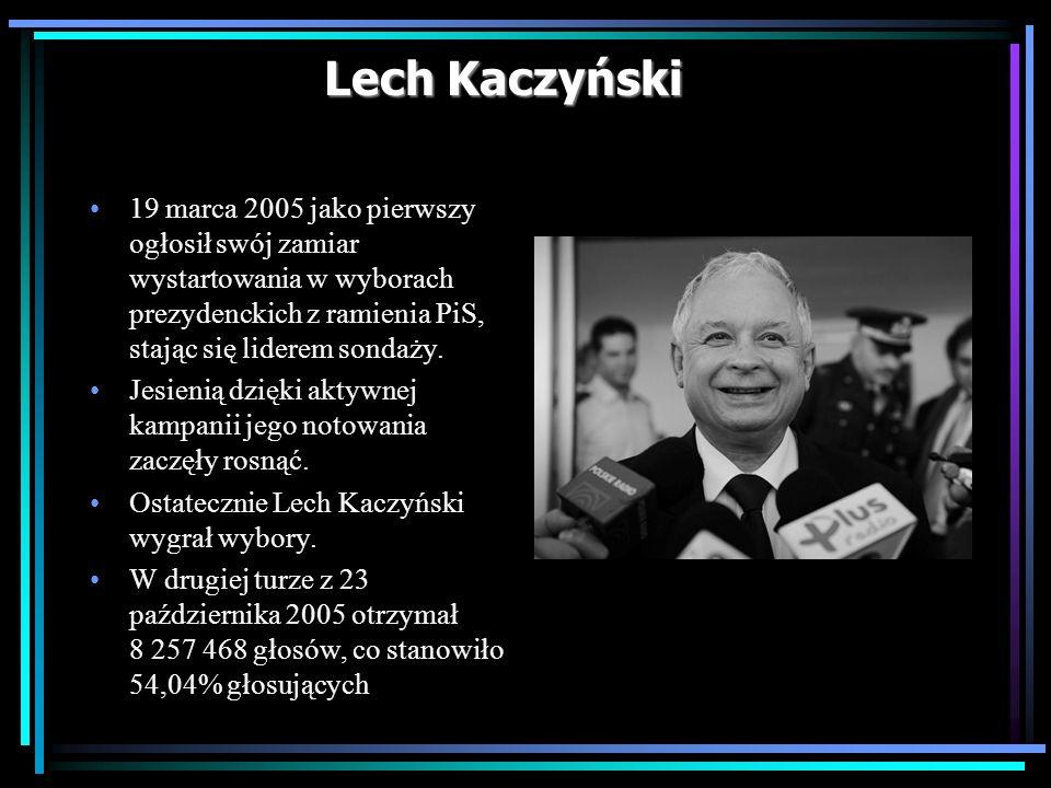 Lech Kaczyński 19 marca 2005 jako pierwszy ogłosił swój zamiar wystartowania w wyborach prezydenckich z ramienia PiS, stając się liderem sondaży.