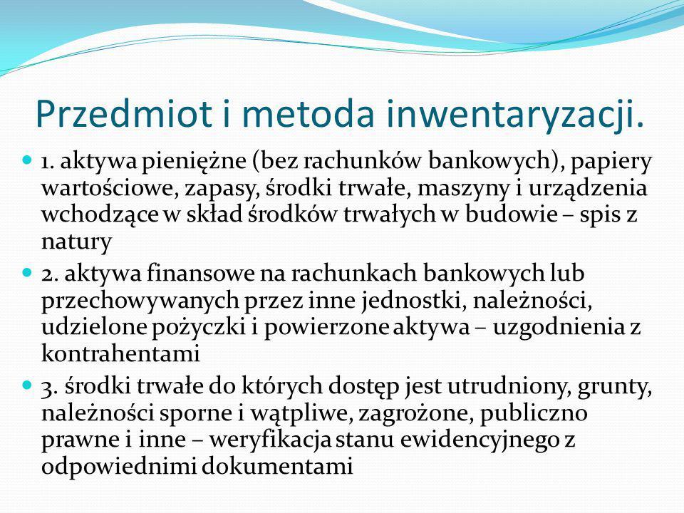 Przedmiot i metoda inwentaryzacji.