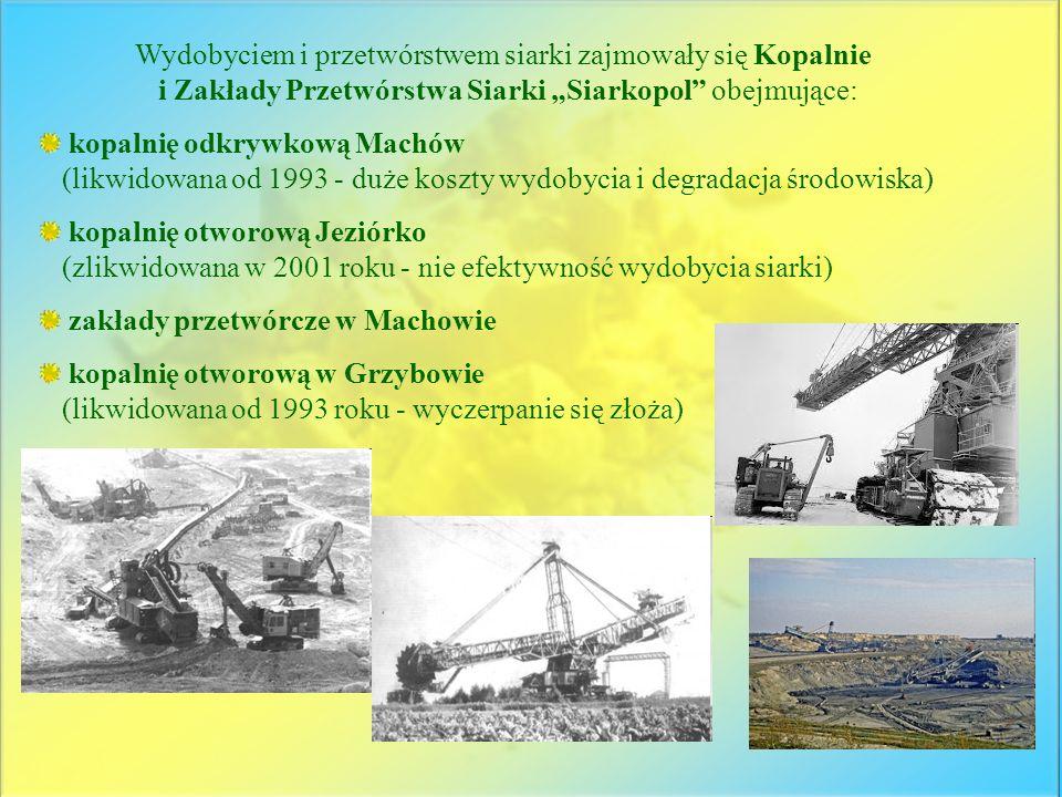Wydobyciem i przetwórstwem siarki zajmowały się Kopalnie