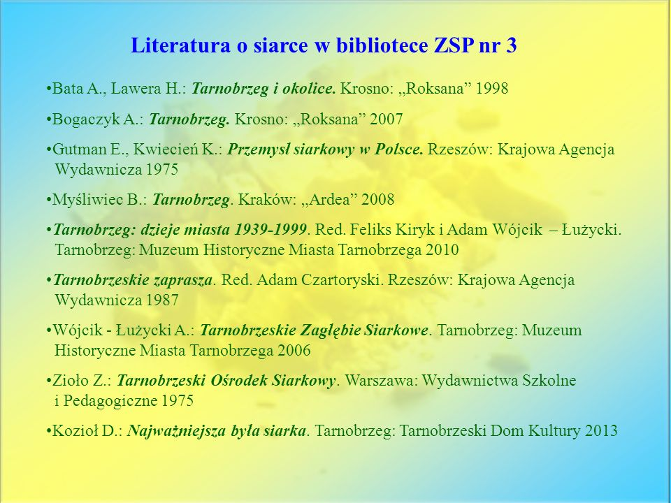 Literatura o siarce w bibliotece ZSP nr 3