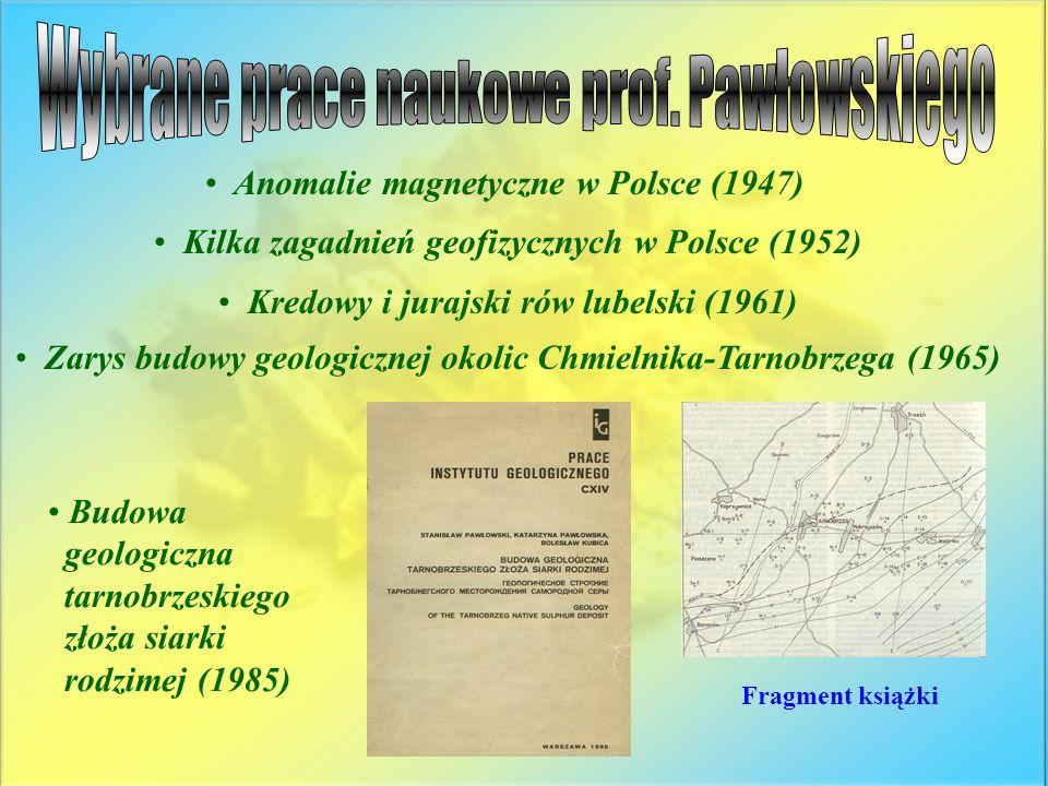 Wybrane prace naukowe prof. Pawłowskiego