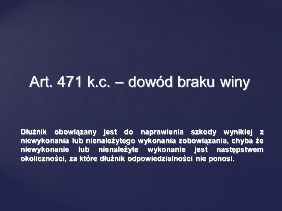 Art. 471 k.c. – dowód braku winy
